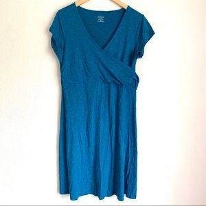 Toad&Co teal faux wrap activewear dress